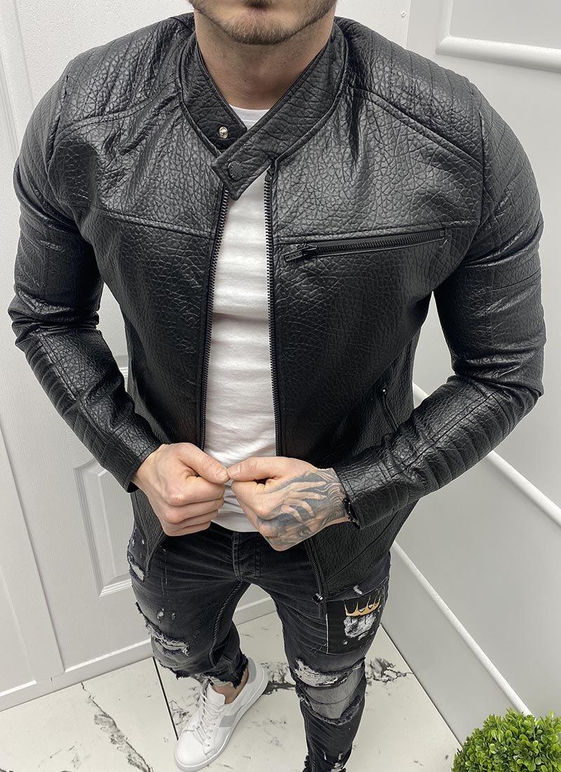 Мъжко черно яке от еко кожа К180-1