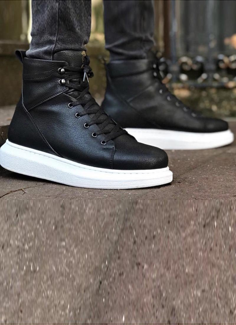 Мъжки високи обувки в черен цвят