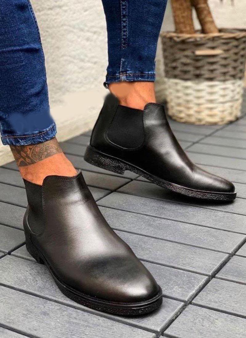 Мъжки кожени боти в черен цвят О206
