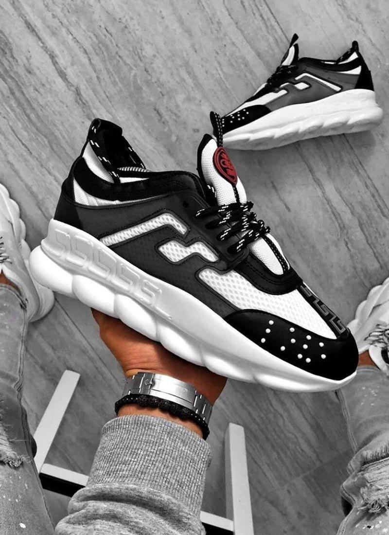 Мъжки ежедневни обувки черно и бяло
