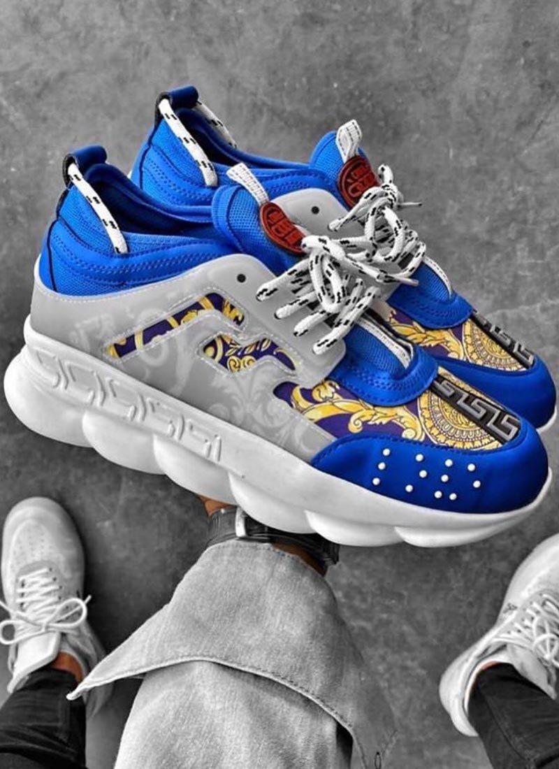 Мъжки ежедневни обувки сини с орнаменти VR167