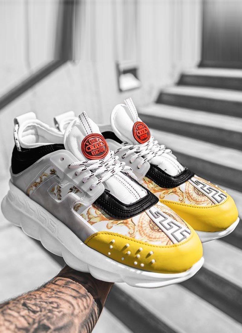 Мъжки ежедневни обувки бяло и жълто VR166