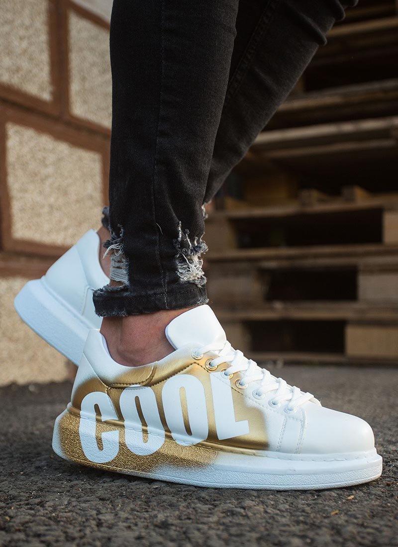 Мъжки обувки бял и златист цвят CH254-429