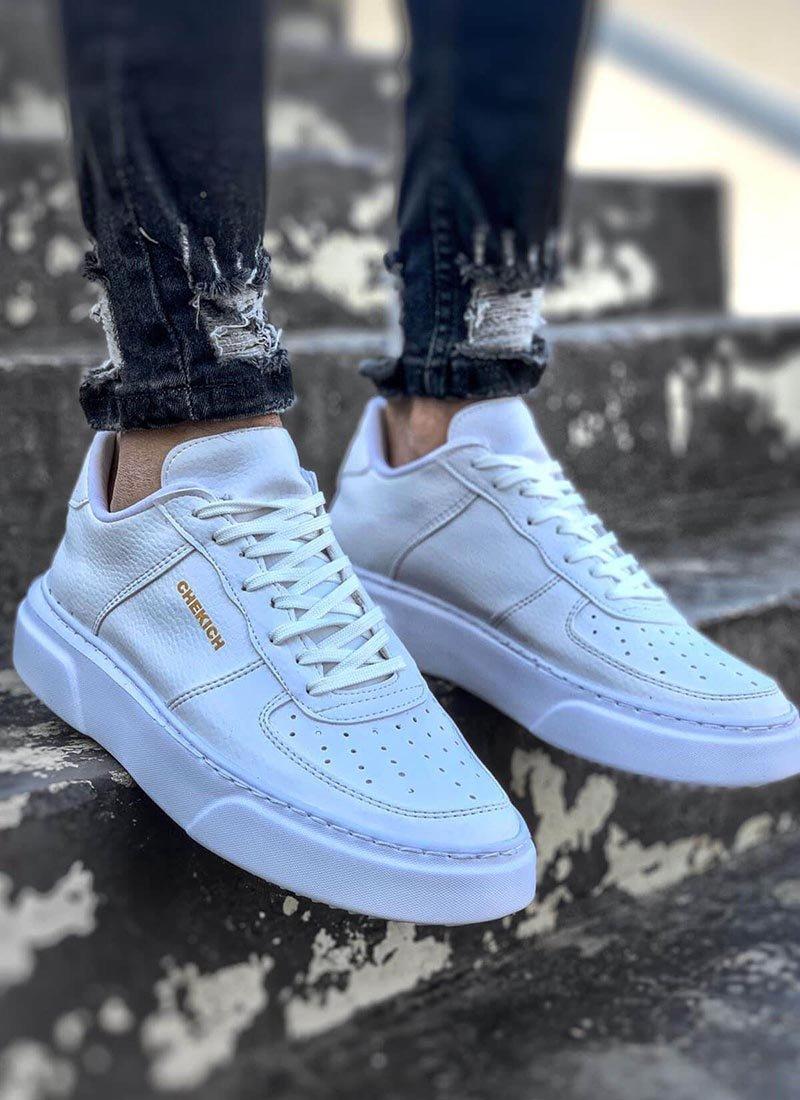 Мъжки ежедневни бели обувки с връзки CH087-BZ