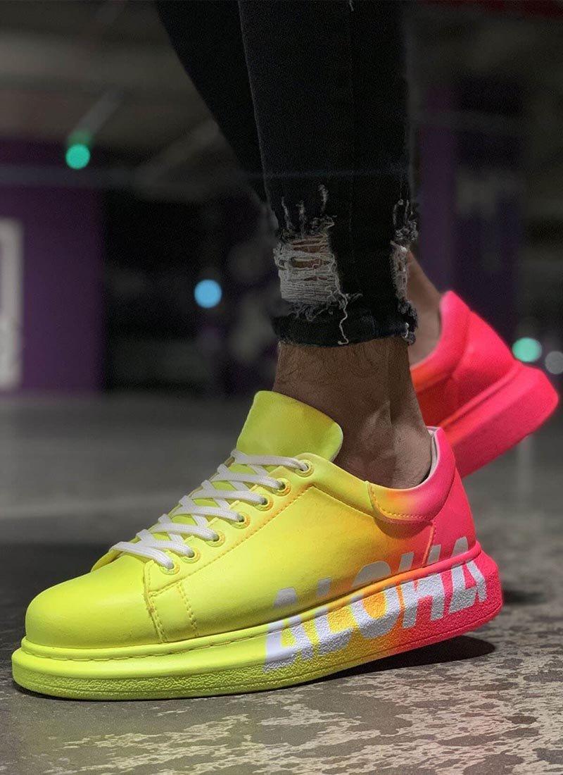Мъжки ежедневни обувки жълто и розово CH254-401