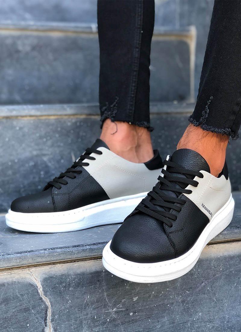 Мъжки обувки в черно и сиво HNB-101-BLGR