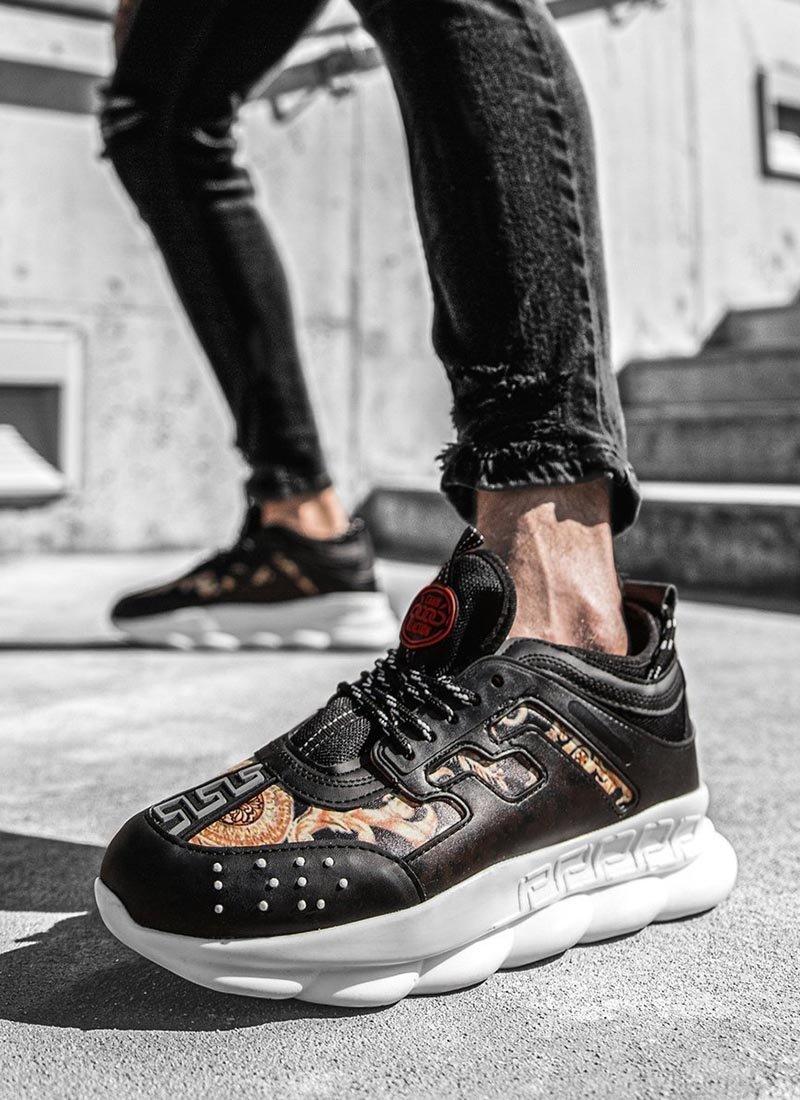 Мъжки ежедневни черни обувки с орнаменти VR107