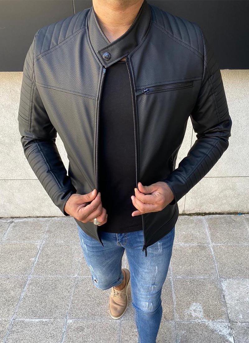 Мъжко яке черен цвят еко кожа