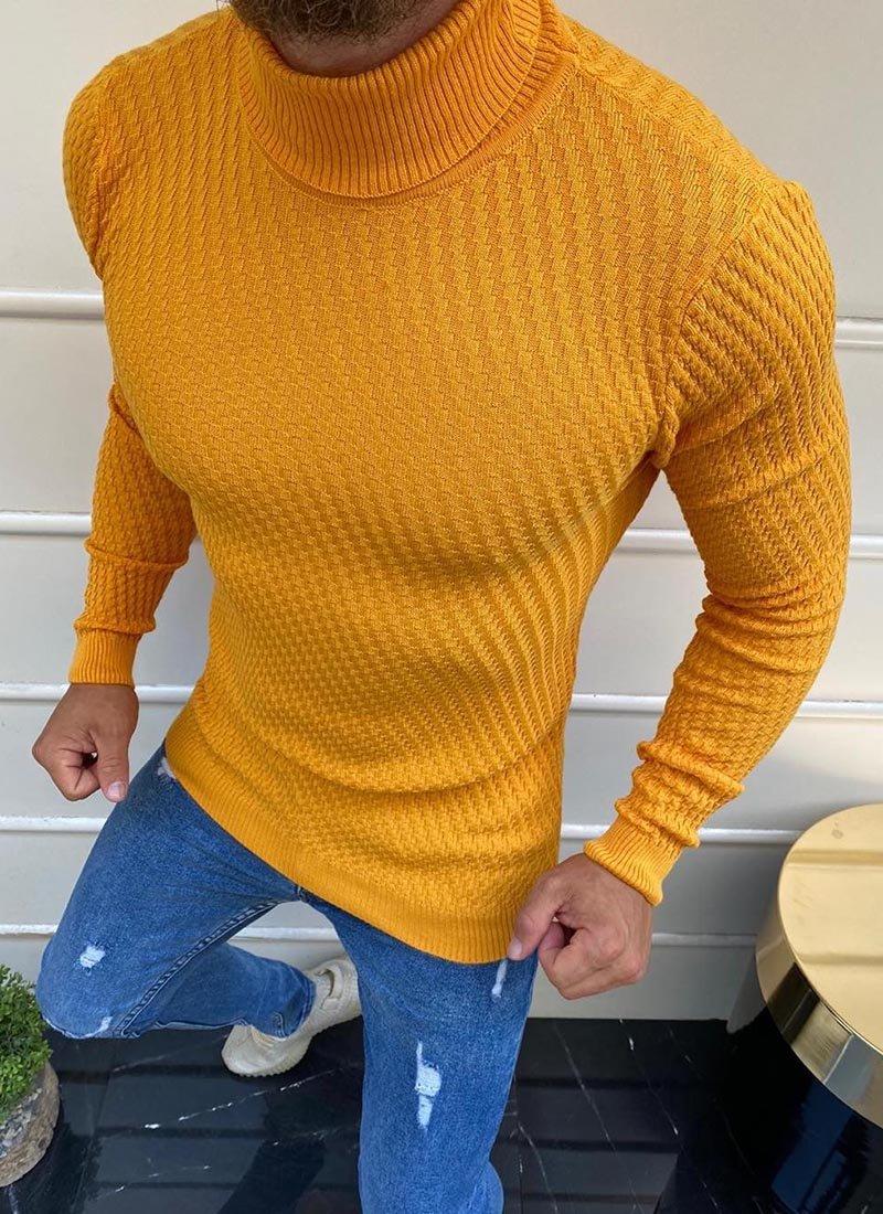 Мъжка блуза в жълт цвят поло Б1956-12