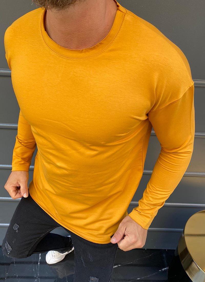 Мъжка блуза жълто-кафяв цвят