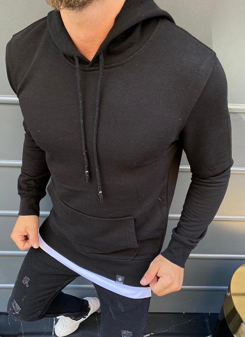 Мъжка блуза черен цвят с качулка Б127