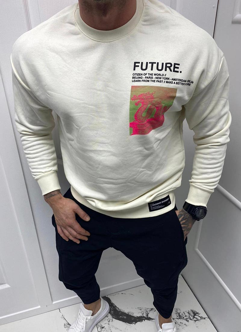 Мъжка блуза бял цвят с щампа Б3196-1