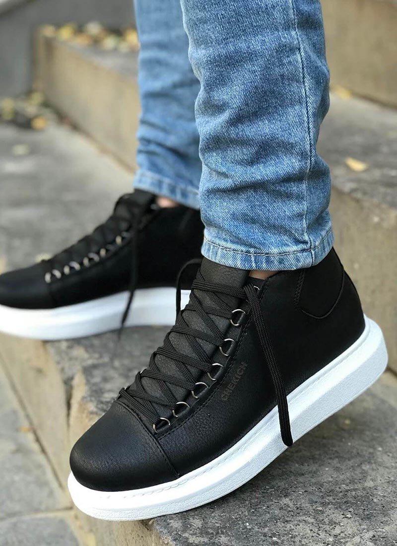 Мъжки високи обувки в черен цвят CH258-SHBT