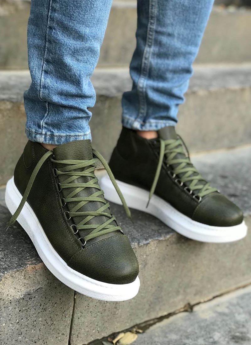 Мъжки високи обувки в зелен цвят CH258-HK
