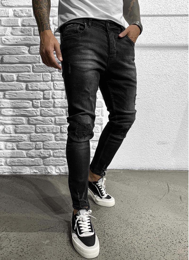 Мъжки дънки в черен цвят разнищени А3428