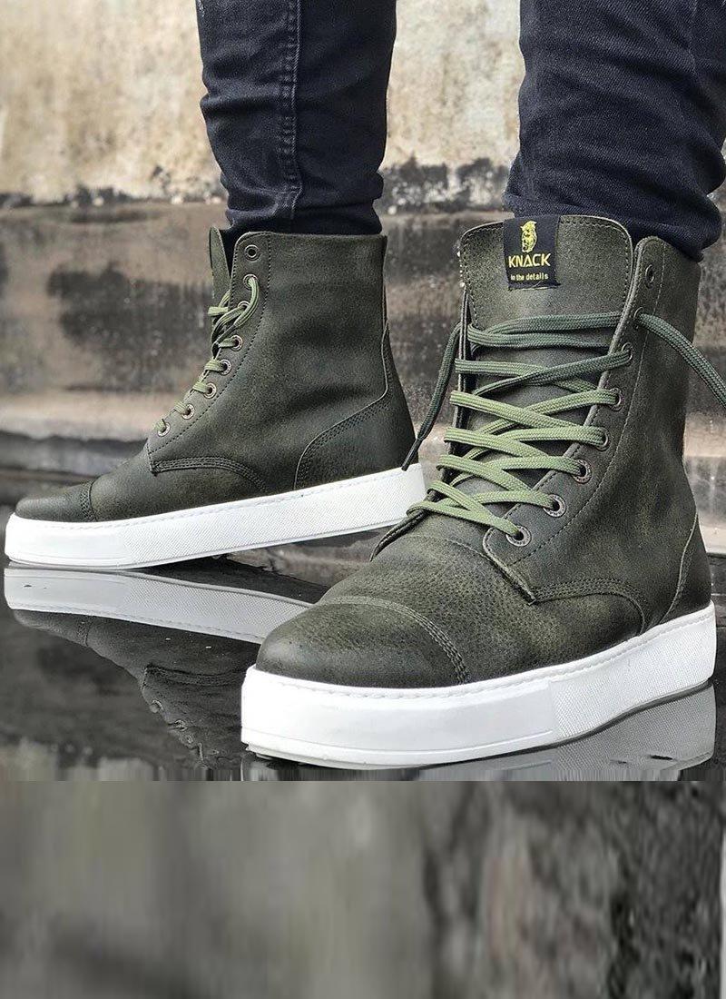 Мъжки високи обувки в зелен цвят KNB-022-KH