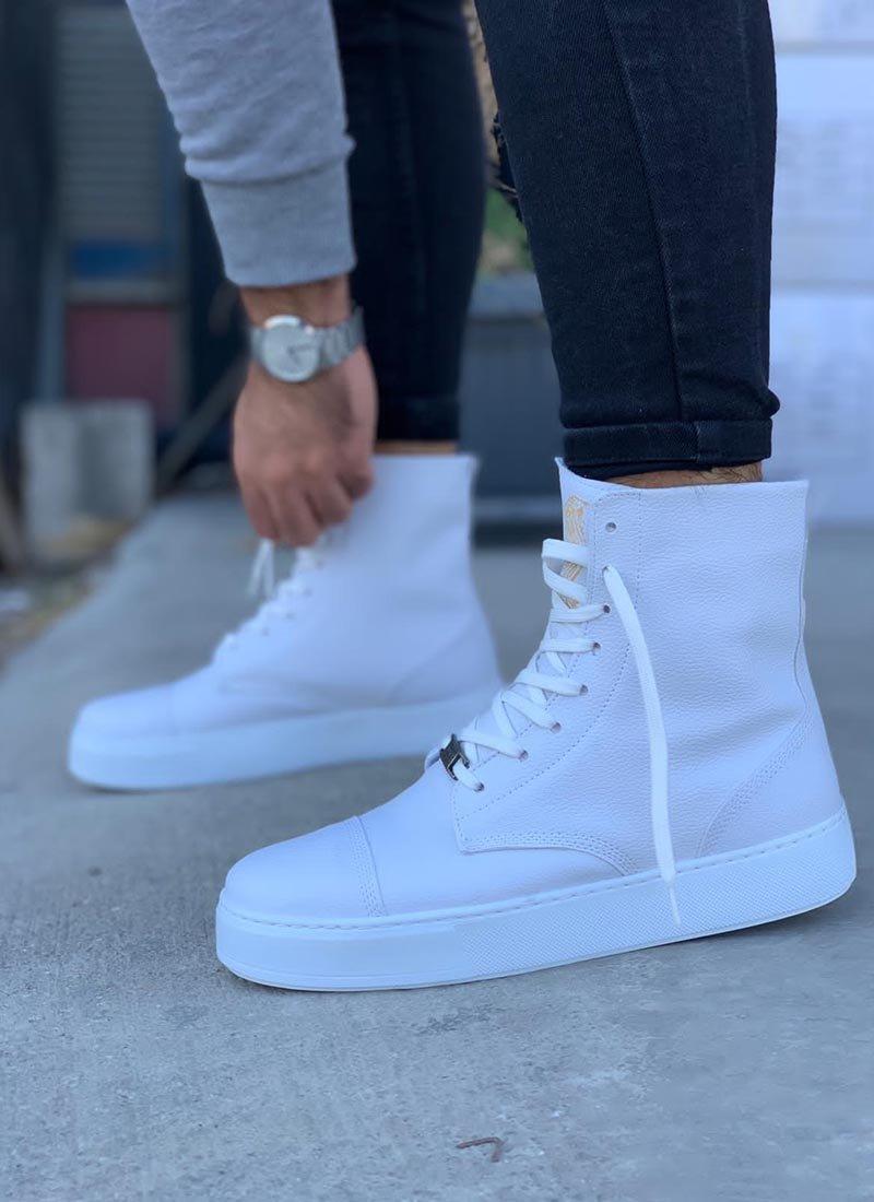 Мъжки високи обувки в бял цвят KNB-022-WH
