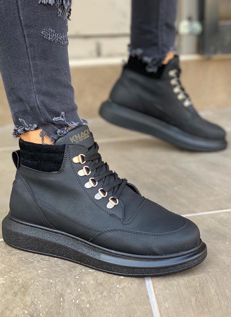 Мъжки високи обувки в черен цвят KNB-504-BL