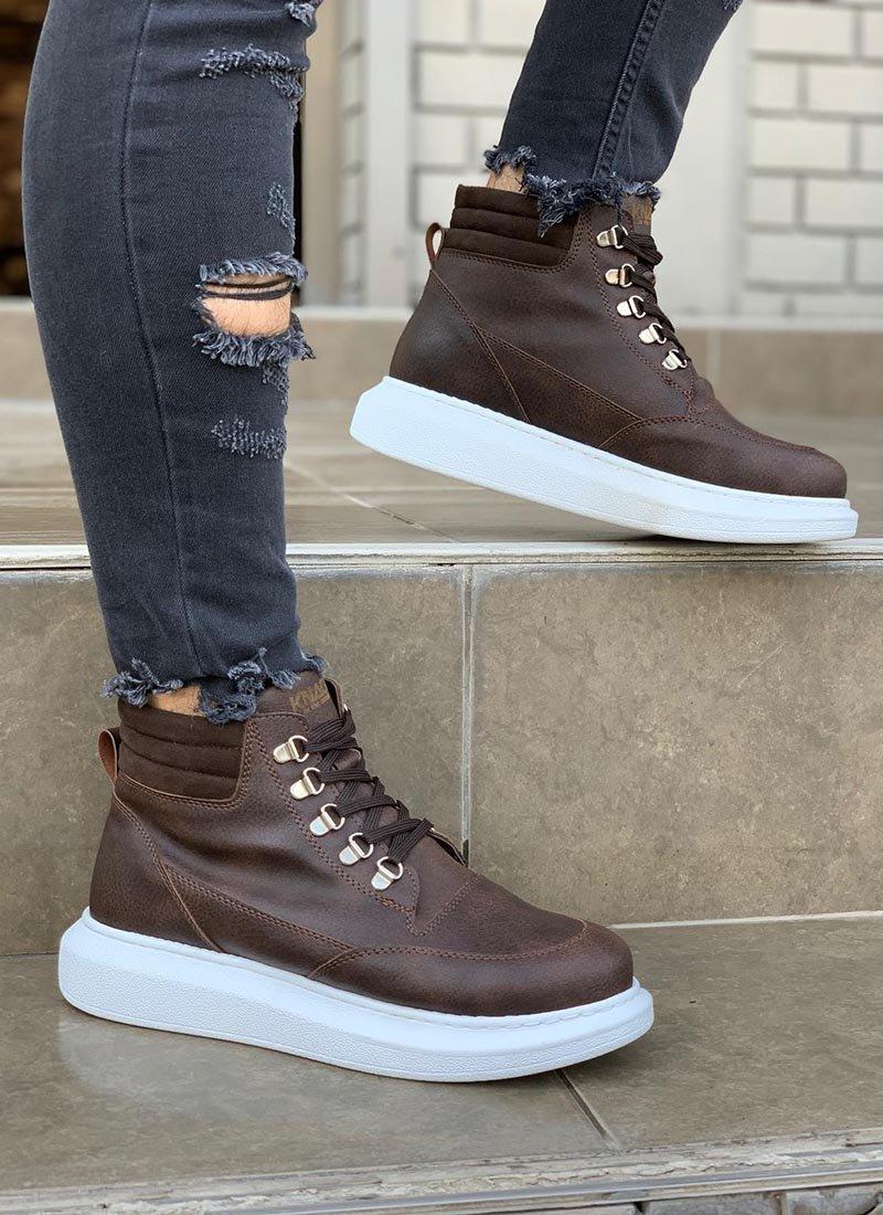 Мъжки високи обувки в кафяв цвят KNB-504-T