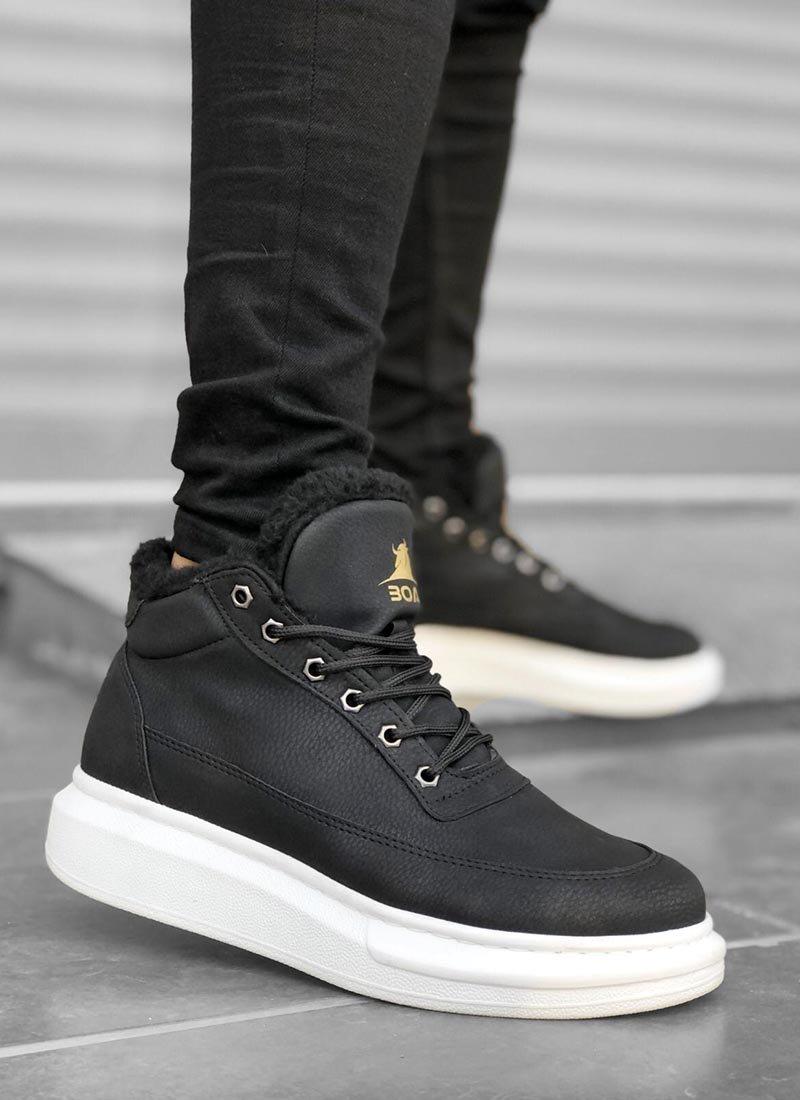 Мъжки високи обувки в черен цвят О213