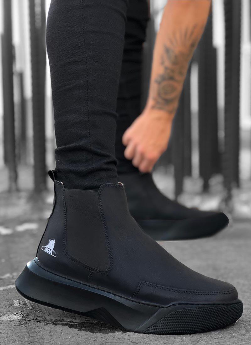 Мъжки високи обувки черни тип чорап О214