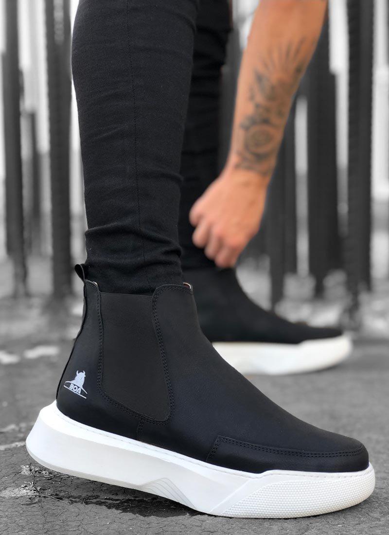 Мъжки високи обувки черно и бяло О215