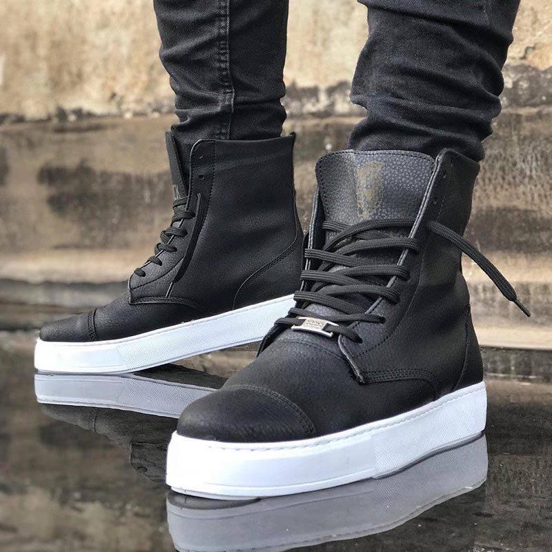 Мъжки високи обувки в черен цвят KNB-022-BLWS