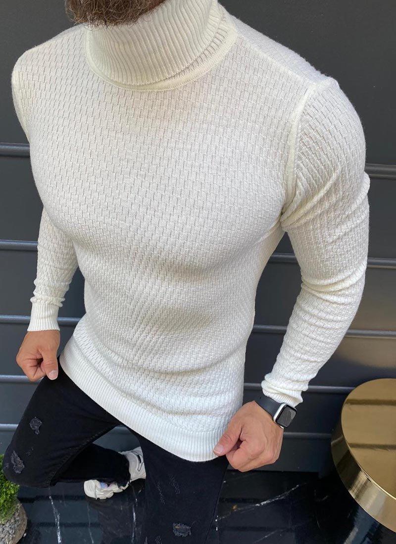 Мъжка блуза в бял цвят поло