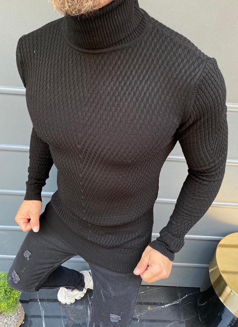 Мъжка блуза в черен цвят поло