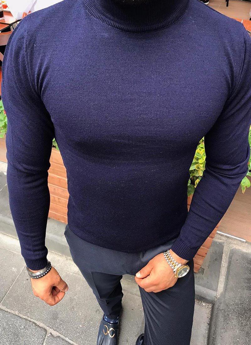 Мъжка блуза тъмно син цвят полуполо Б811-4