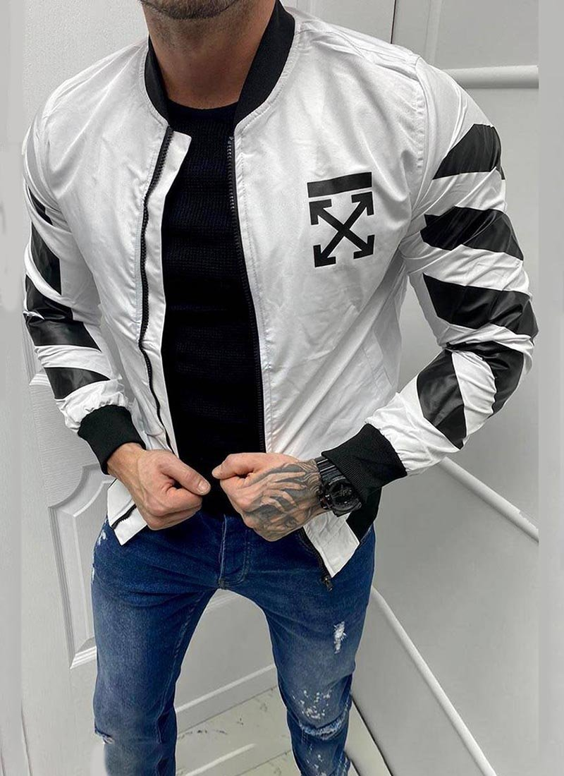 Мъжко яке в бял и черен цвят К54020-1
