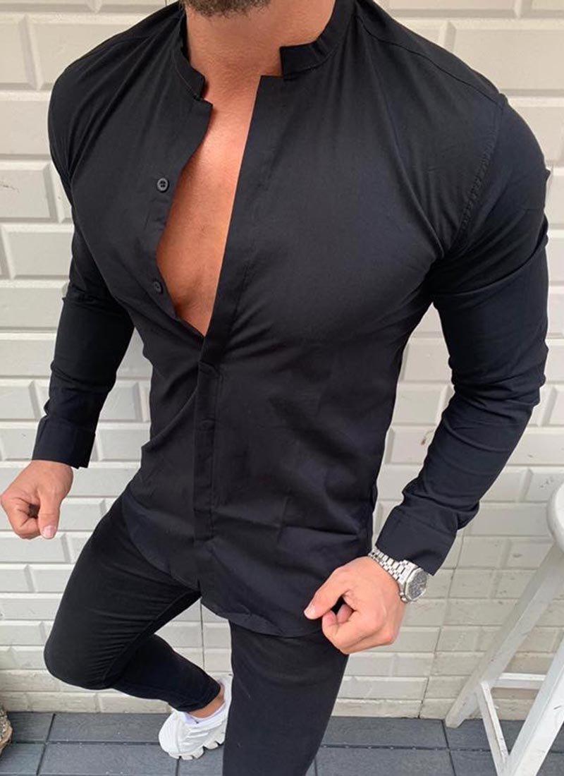 Спортно елегантна мъжка риза черна Р25