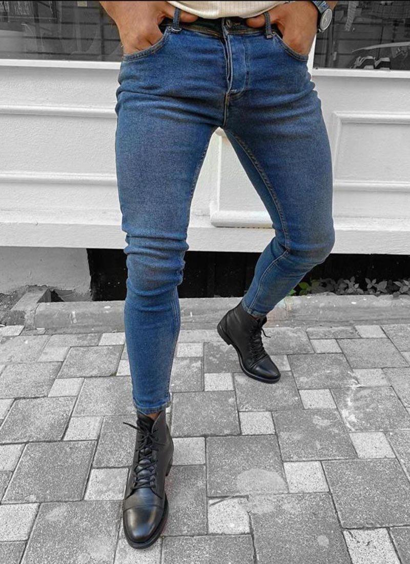 Мъжки дънки в син цвят изчистени А2738
