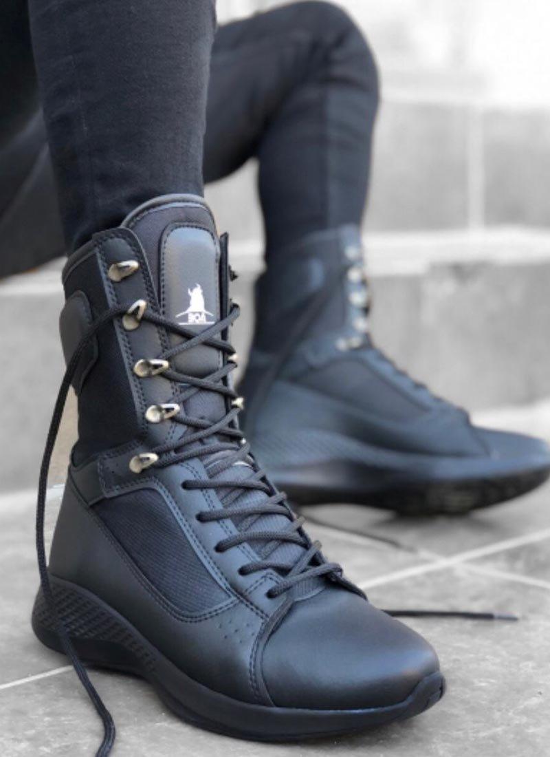 Мъжки черни високи обувки с връзки