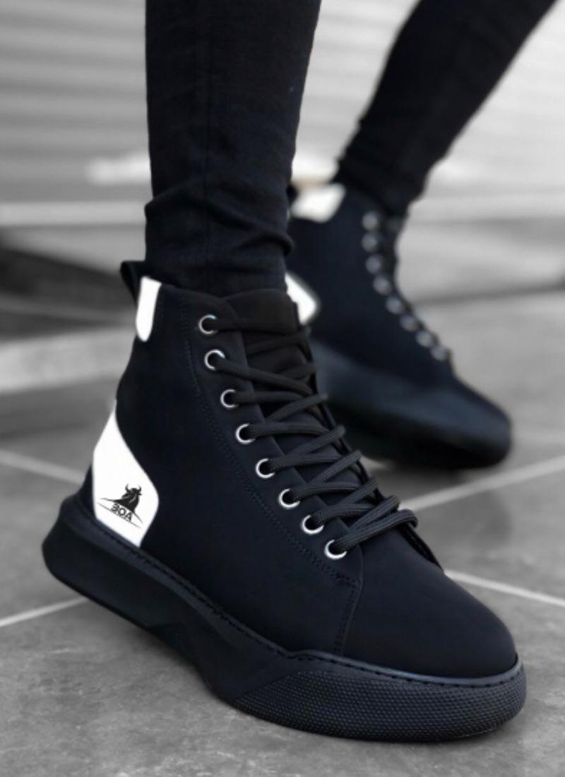 Мъжки високи обувки черно и бяло