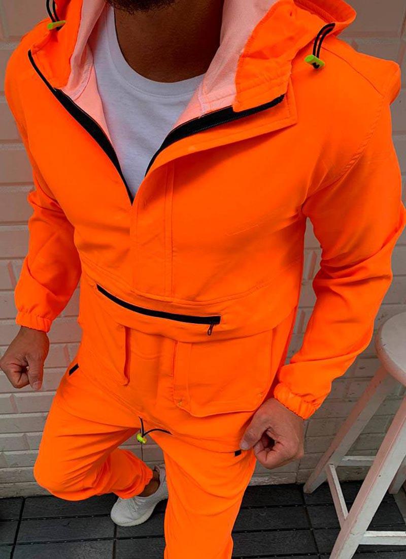 Мъжко горнище в оранжев неонов цвят Г02