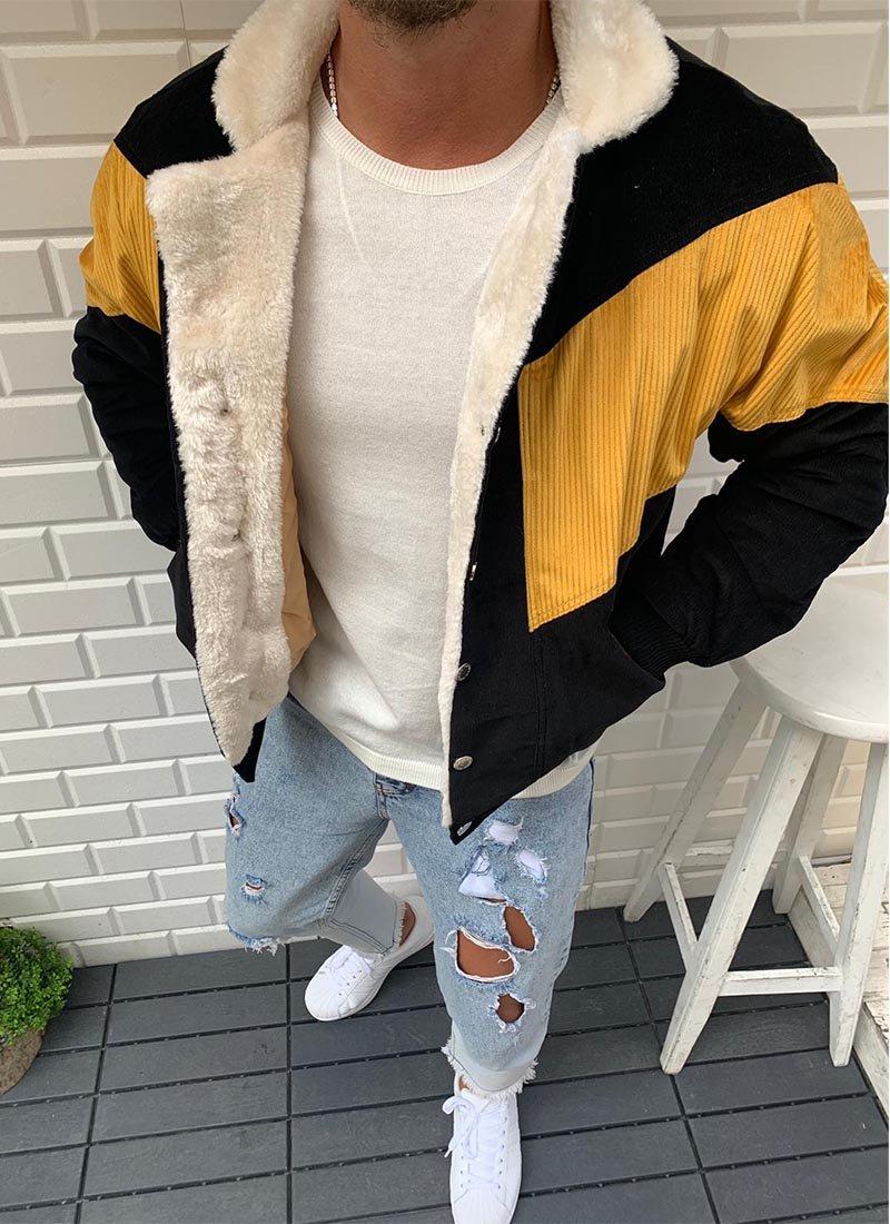 Мъжко яке черен и жълт цвят К167