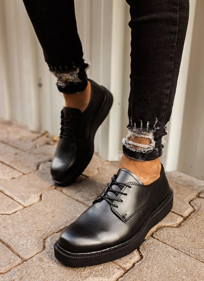 Мъжки черни обувки с дебела подметка CH001-SH