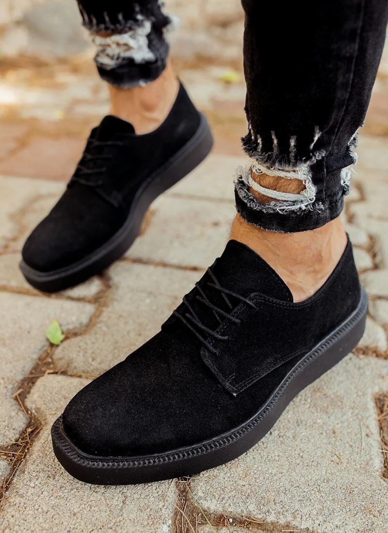 Мъжки обувки черни велурени CH001-SHSU