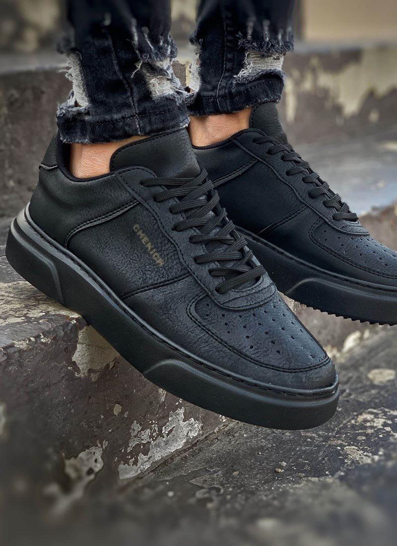 Мъжки ежедневни обувки изчистен черни CH087-SH