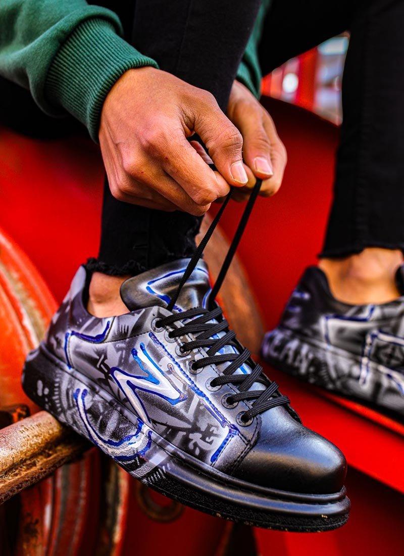 Мъжки обувки в черно с графити CH254-480