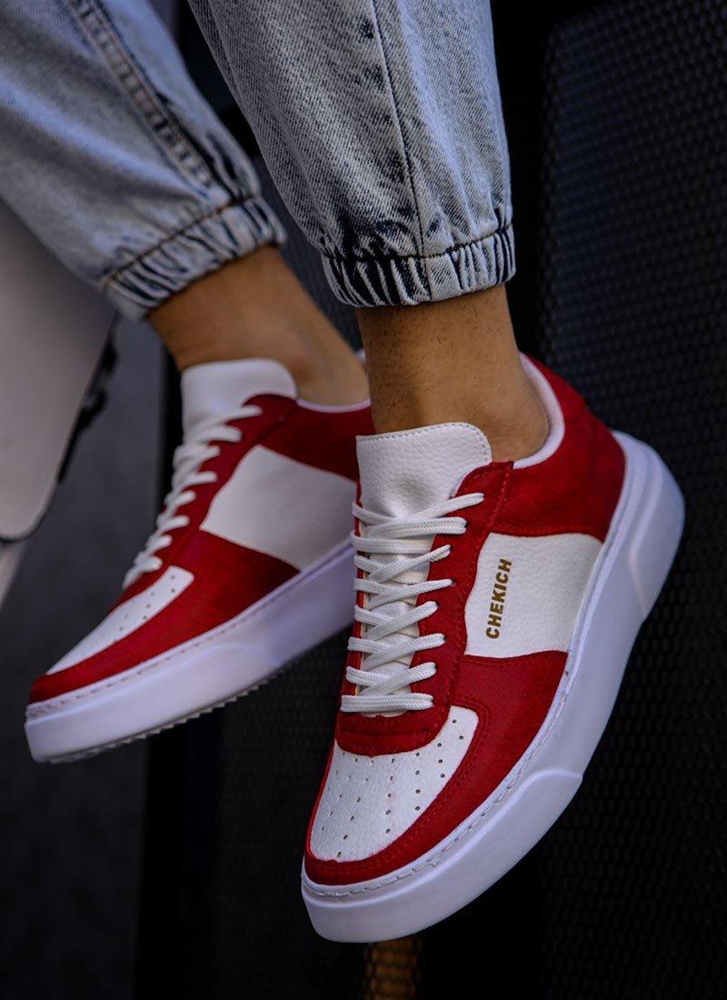 Мъжки обувки бял и червен цвят