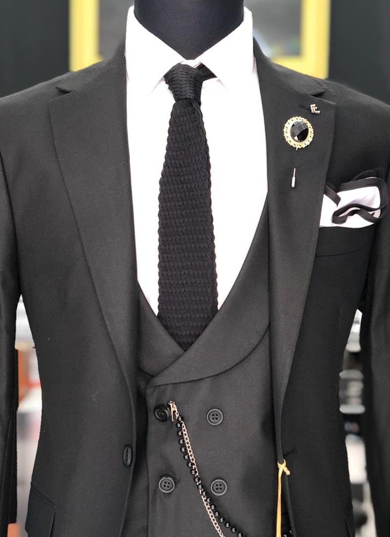 Елегантна вратовръзка черна плетена