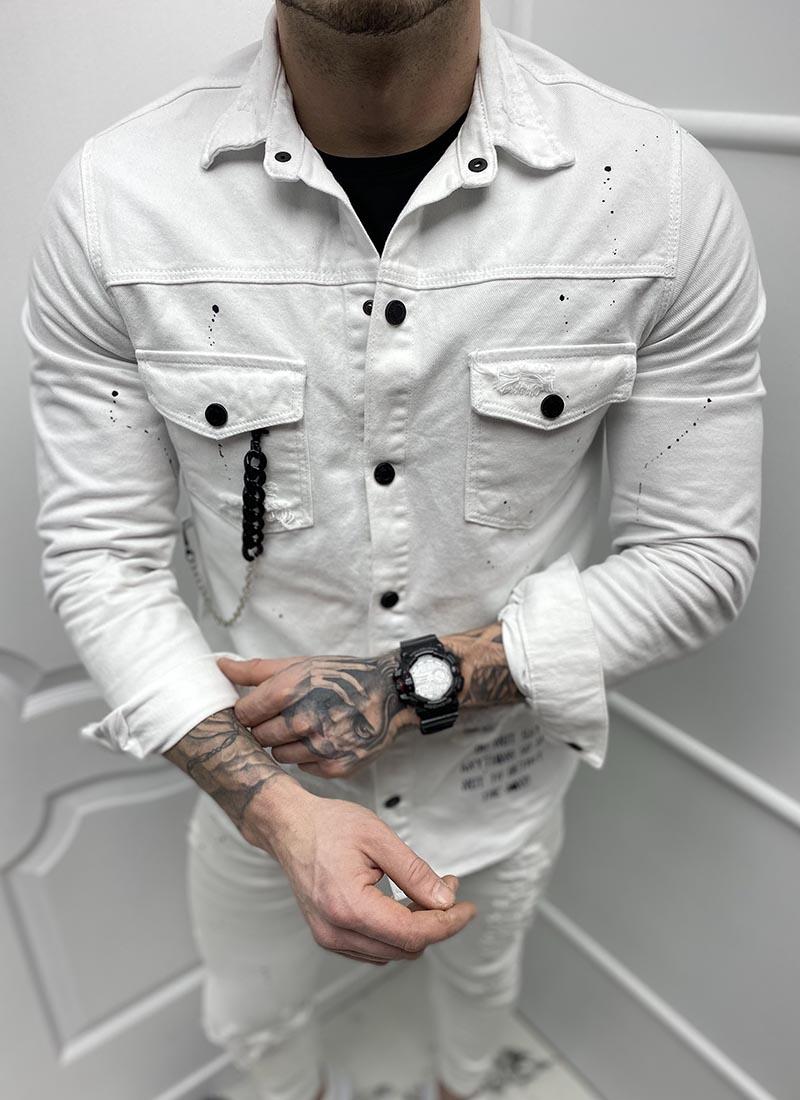 Мъжко дънково бяло сафари черна верижка