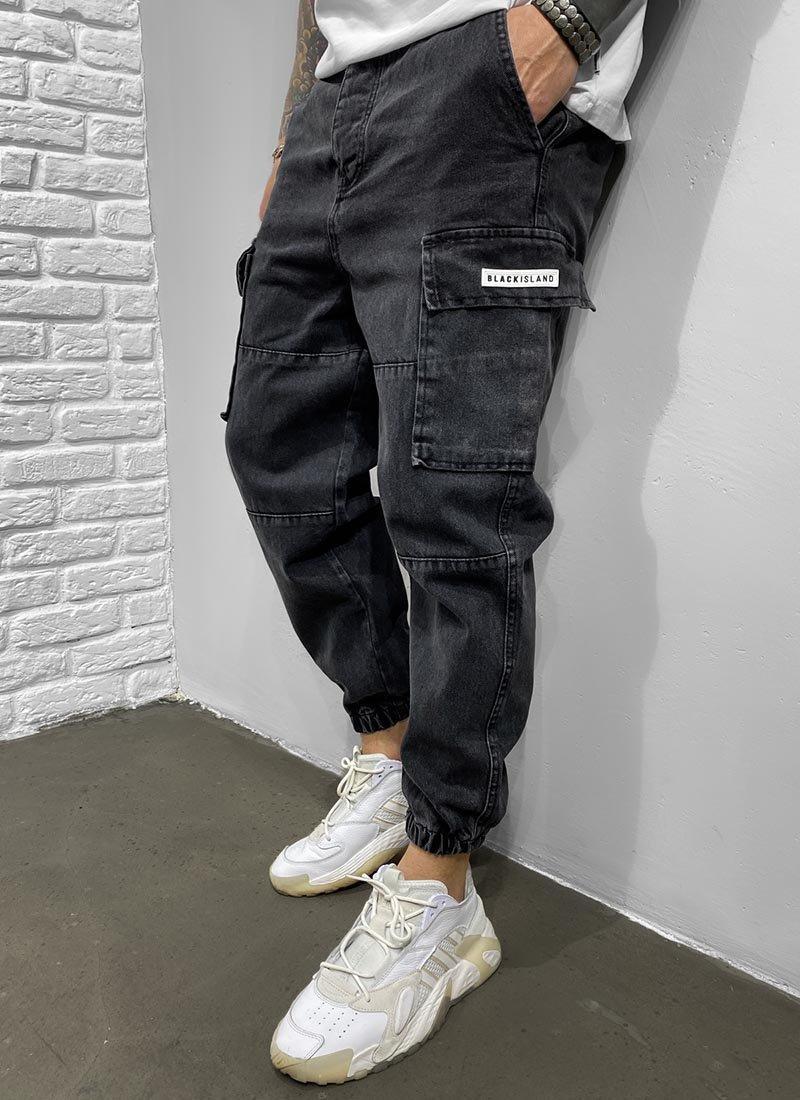 Мъжки дънки черен цвят с ластик А15025