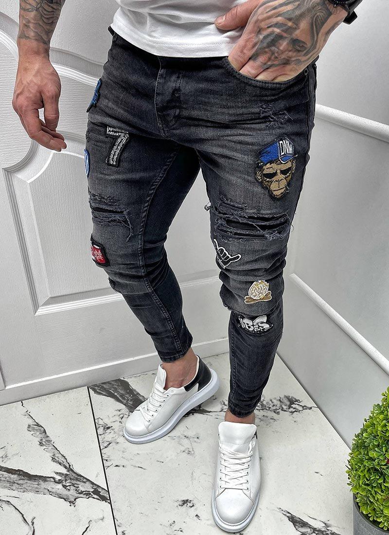 Мъжки черни дънки с щампи