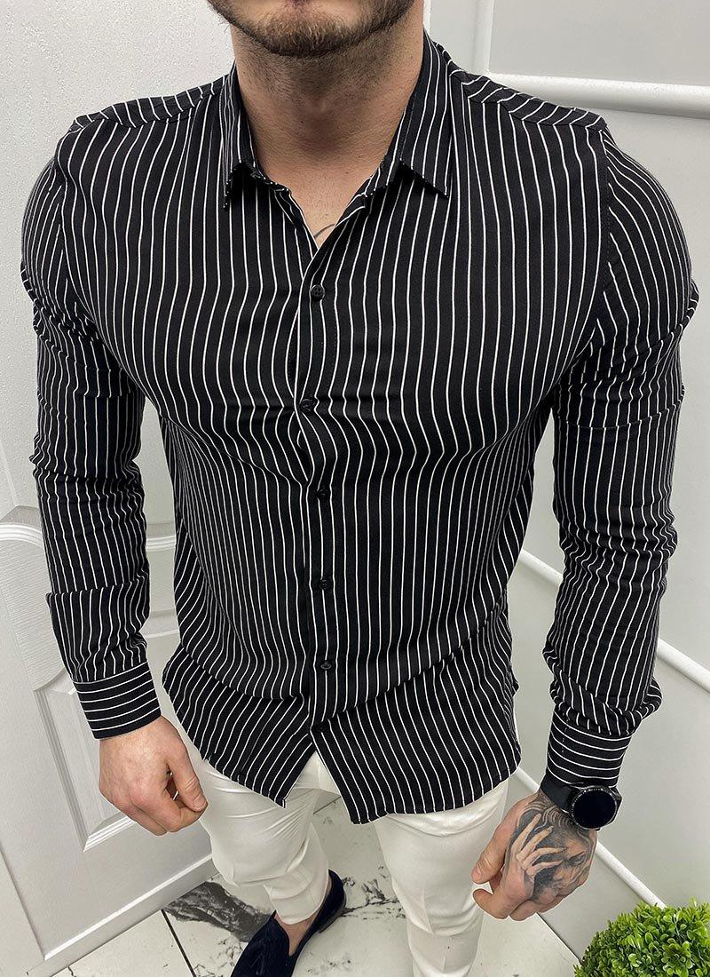 Спортна мъжка черна риза бяло райе