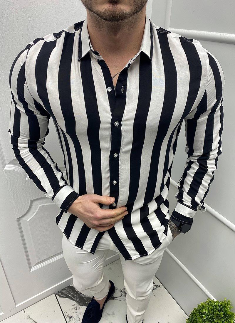 Спортна мъжка риза черно-бяло райе