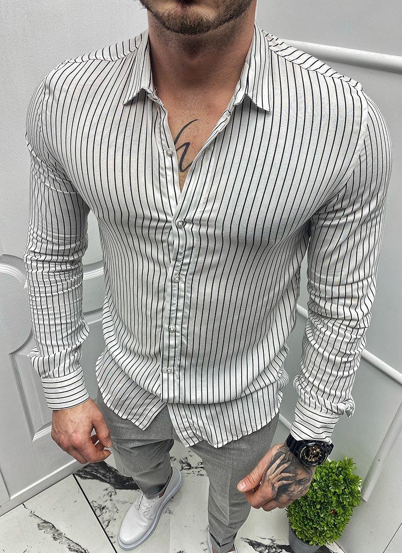 Спортна мъжка бяла риза черно райе