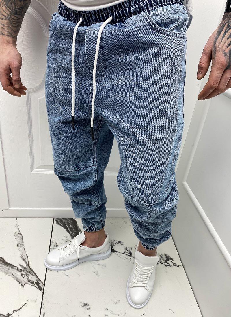 Мъжки сини дънки със странични джобове А5829